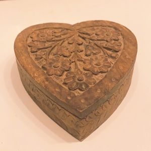 Small Vintage Hand Carved Wooden Box